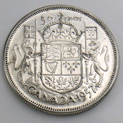 1957 Fifty 50 Cent Canada Half Dollar Circulated Canadian Coin H851