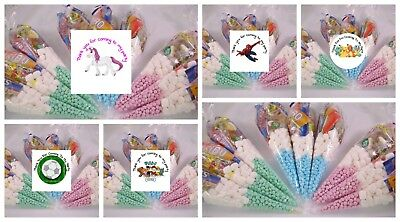 Personalised Pre Filled Themed Sweet Cones Kids Birthday Party Bags