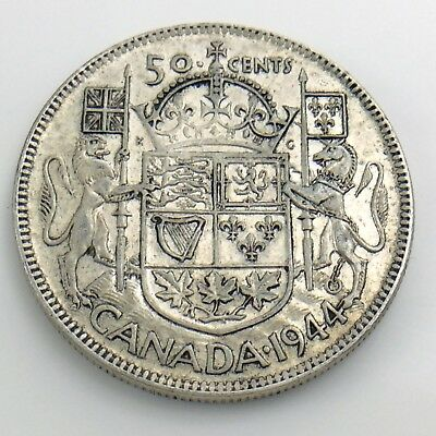 1944 Fifty 50 Cent Canada Half Dollar Circulated Canadian Lustrous Coin H858