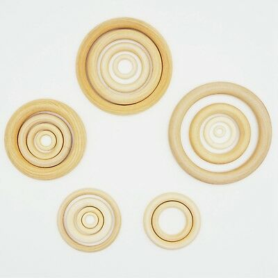 Craft DIY Unfinished Natural Untreated Plain Wooden 12mm-70mm Wood Round Ring