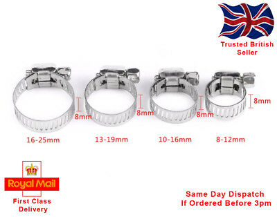 x10 STAINLESS STEEL HOSE CLIPS. FOUR SIZES AVAILABLE