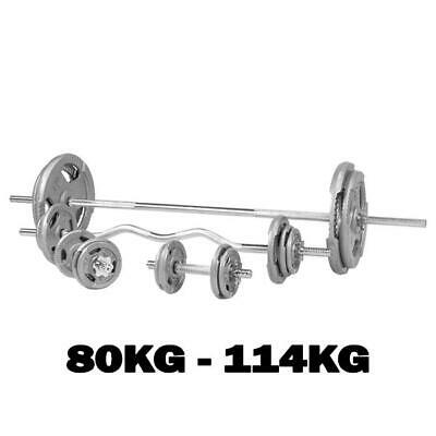 "Barbell Dumbbell Curl Bar Tri Grip Metal Cast Iron Weights Set 1"" 80Kg - 114Kg"