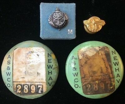 USS American Steel & Wire Co. New Haven Sterling15 YR Service Award & ID Pins