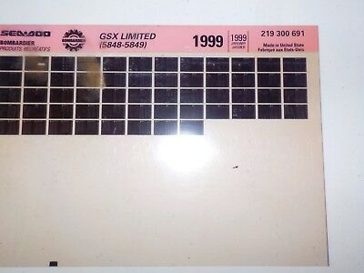 1999 Sea Doo Microfiche Parts Catalog GSX Limited 5848 5849 219 300 691