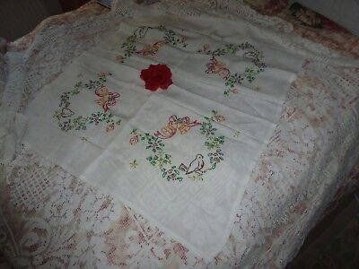 Vintage large lace tablecloth with 50's hand embroidered Xmas tablecloth unused