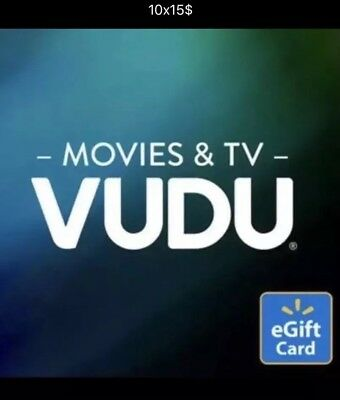 10 - $15 Vudu Credits for movies or shows - Email Codes
