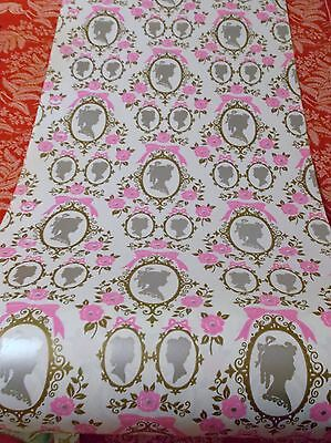 Vtg Christmas Girls Princess Queen Wrapping Paper Gift Wrap 2 Yds Pink Victorian