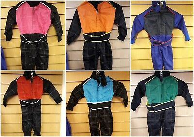 Kids Overalls Race Rally Karting Quad Suits One Piece Play Suit Green & Black