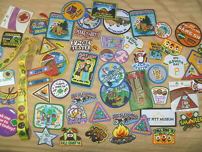 Lot Girl Scout Brownie 60  Badges Patches Cookies Lanyard Fun Variety