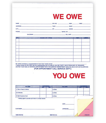 Car Dealer We Owe/You Owe forms