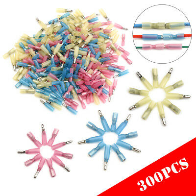 300Pcs Bullet Crimp Heat Shrink Female Male 22-10 Gauge Wire Connectors Terminal
