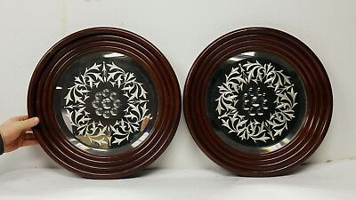 Large Pair of Antique 19th c. English Bullseye Cut Glass Mahogany Wood Mirrors