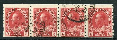 Weeda Canada 127 F used strip of 4, 2c carmine sidewise coil Admiral issue CV$20