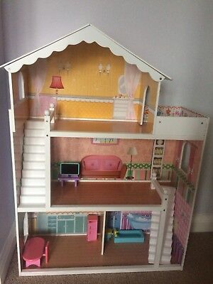 Wooden Kids Dolls House With Furniture & Staircase