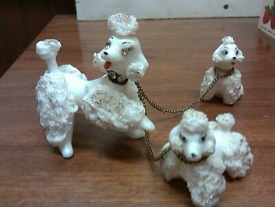 VTG white French spaghetti Poodle Mother and pups Figurines Rhinestone  Japan