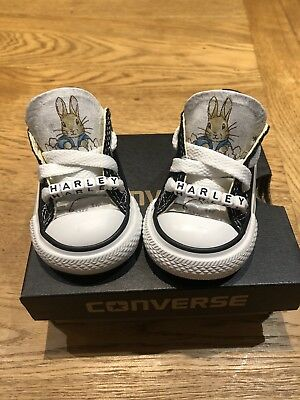 Infant Converse  Toddler Converse Black Size 2 Personalised Peter Rabbit d5cd6f3c6