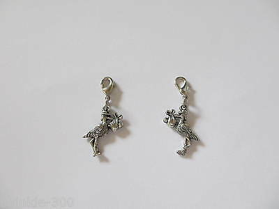 3D Double Sided Clip on Stork Carrying Baby Charm for Bracelet - New Mum to Be