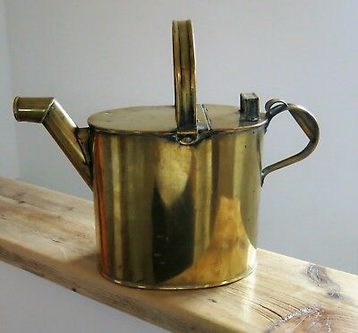 Charming Oval Shaped Vintage BRASS Lidded WATERING CAN Large Size