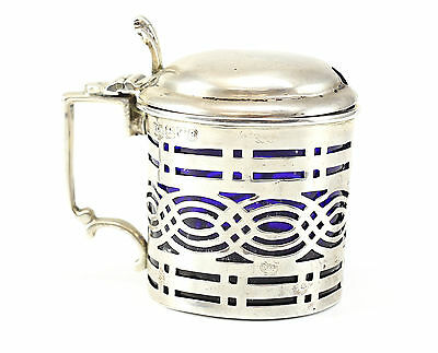 1904 Chester Sterling Silver Blue Glass Lined Condiment Jar Nathan & Hayes 29.3g