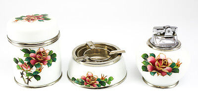 3pc. Japanese Porcelain Cloisonne Enamel Smoking Set; Lighter, Ashtray & Holder