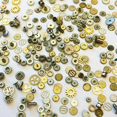 100 Tiny Small Watch Gears Steampunk Altered Art Parts Wheels Vtg Watchmaker Lot