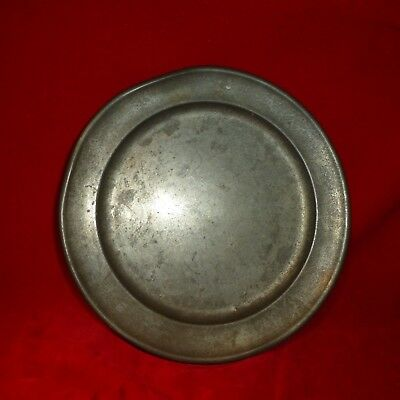 """Nice Revolutionary War Era American Made Soldier's 8 3/4"""" Pewter Camp Plate -Exe"""