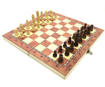 BEST Hand Crafted Wooden Chess And Draughts Set 35cm x 35cm (FAST DELIVERY)