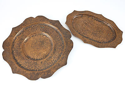 Pair of Arts & Crafts Copper Serving Trays; Hand Wrought & Hand Hammered