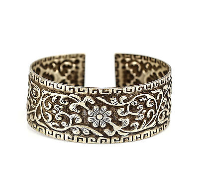 Asian Silver Cuff Bracelet, c.1950 Repousse & Hand Chased Floral Designs 35.47g
