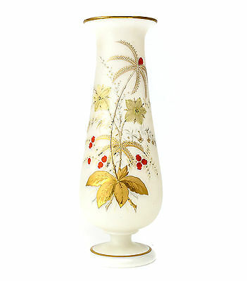 Continental Bristol Frosted Art Glass Vase Jeweled c1930 Hand Painted Gilt & Red