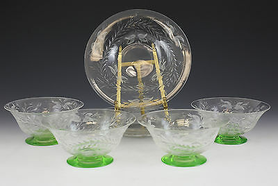 8pc American Lime Green & Clear Footed Bowls w/ Underplates c1920 Hand Etched