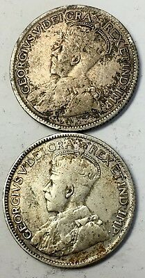 Lot of (2) SILVER QUARTERS -CANADA (1929 / 1936) GEORGE V - 80% SILVER -See Pics