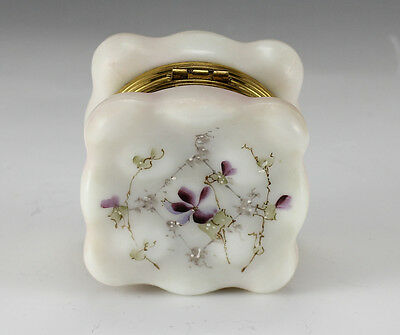 Wave Crest Satin Glass Jewelry Box w/ handpainted enamel floral design CF Monroe