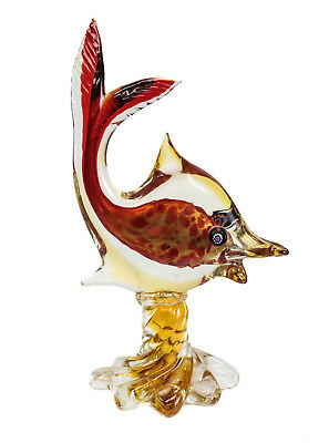 Large Murano Red and Amber Gold Fleck Fish Figurine / Sculpture