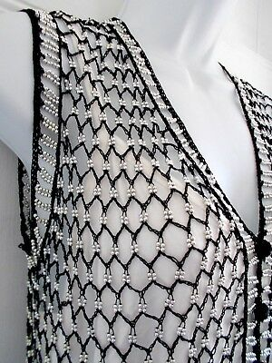 Women's 70's Beaded Vest Silver Black Jeweled Handcrafted High Quality Size S