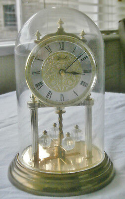 Large modern Kermle Anniversary Clock, quartz, glass dome, for spares or repair