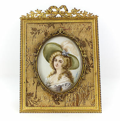 French Miniature Lady's Portrait  Gilt Bronze Frame, Hand painted 19th Century