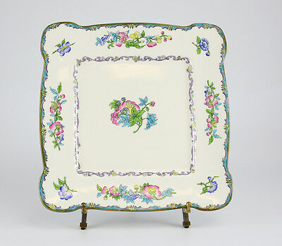 """Minton Porcelain Square 12"""" Cake Plate Cream white, hand painted (1912-1951)"""