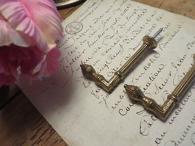 Pair Of Charming Vintage French  Brass  Curtain Tie Back Hooks ~ Period Projects