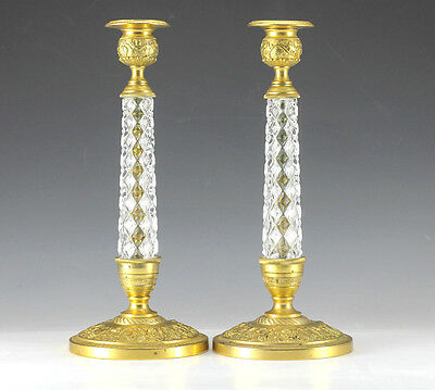 Pair Gold Plated Bronze and Crystal Candlesticks Raised grape and leaf designs.