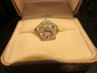 Ladies Masonic Eastern Star 10K White Gold Ring, Size 6.5...