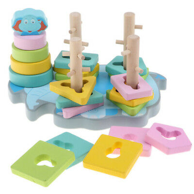 Cartoon Elephant Primary Baby Wooden Stacking Block Toys For Kids