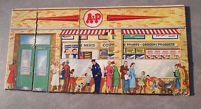 Vtg A&P cardboard grocery store play set