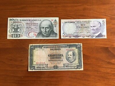Bank Notes From Turkey Mexico And Mozambique