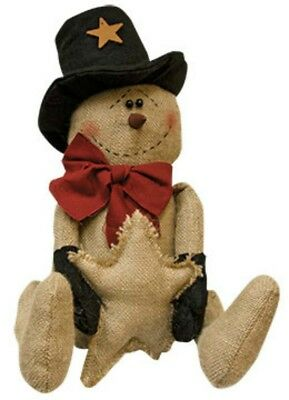 Very Primitive`Burlap`Top Hat Snowman Doll`With Star` Bow and Mittens