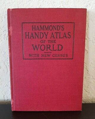 HAMMOND'S HANDY ATLAS of THE WORLD With New Census 1914 Hard Cover  BOOK + 1 MAP