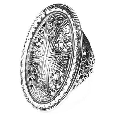 Gerochristo 2569 ~ Sterling Silver - Medieval Byzantine Filigree Cross Ring