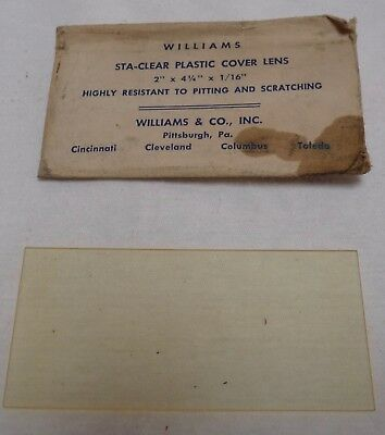 """1940s Vintage Sta-Clear Plastic Cover Lens Williams in Paper Sleeve 2 x 4.25"""""""