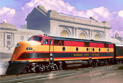 KCS KANAS CITY SOUTHERN E3, ART BY ANDY ROMANO LIMITED 1st EDITION R15-172