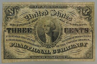 1863 3rd Issue Three Cent United States Fractional Currency